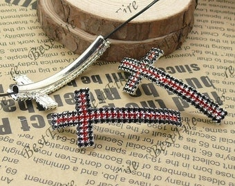 2pcs of 24x52mm Silver tone Sideways Cross black and red Rhinestone Connector,Cross Bracelet Connector,bangle findings
