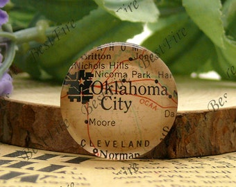 10mm,12mm,14mm,16mm,18mm,20mm,25mm Round Glass Cabochons Oklahoma City Map,jewelry Cabochons finding beads,Glass Cabochons,Map Cabochons