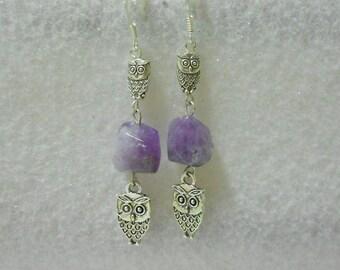 Genuine Amethyst Gemstone Owl Dangle Earrings
