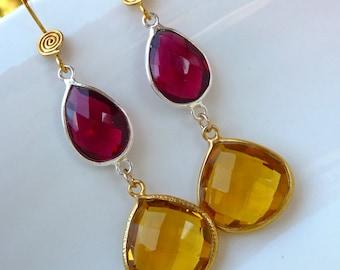 Ruby Red and Golden Geometric Dangly Beadwork Earrings. Bezel Drop Earrings. Fashion Chandelier Earrings.