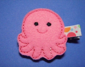 Pink Octopus Felt Hair Clip - Clippie - For Infant Toddler Girl