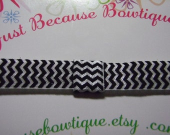 Elastic Headband in Black Chevron  - Interchangeable Foldover Elastic - For Girls