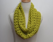 Crochet Infinity Scarf in Lime Green