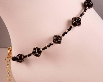 Beaded Anklet  Ankle Bracelet Black Anklet  Beaded Anklet Beaded Jewelry Black Jewelry