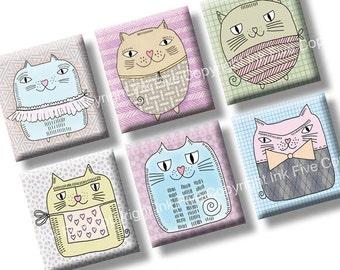 Potato Cats scrabble tile size images 0.75x0.83 inch squares. 4x6'' Collage Sheet for scrabble size pendants. Printable digital download.