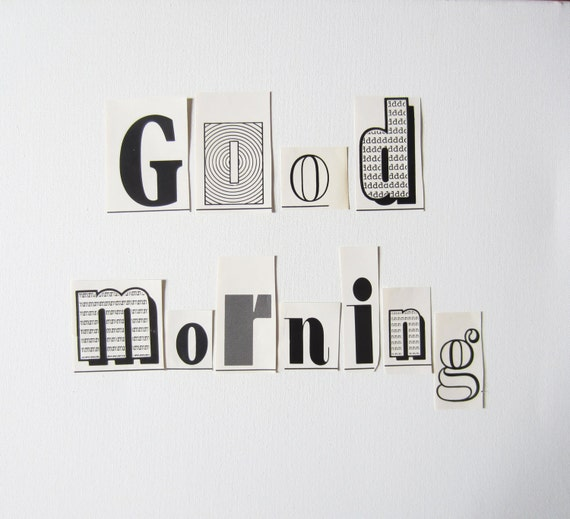 Good Morning Vintage Photos : Items similar to vintage quot good morning paper typography