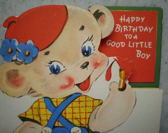 Vintage Mid Century Unused Greeting Card - Little Boy - Happy Birthday