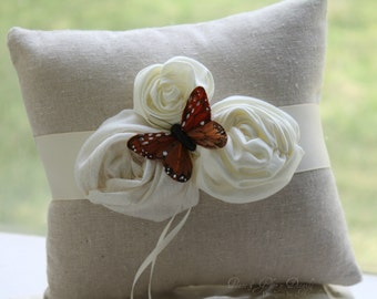 Ring Bearer Pillow - Natural Butterfly Ivory Rosettes - Butterfly Wedding - Rustic Country - Nature Spring Summer - Wedding Ring Pillow