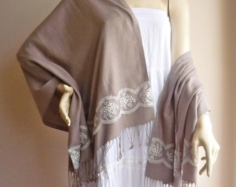 Mink  Lacy Long Scarf/Pashmina Shawl/Wrap-Fall and Spring Scarf