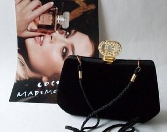 Vintage Velvet Rhinestone Evening Shoulder Bag  LJO Collection Purses