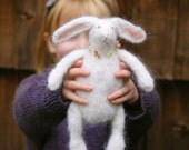 Mohair rabbit - natural toy -  bunny with spring flowers