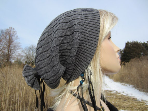 Big Head Slouchy Beanie Cable knit Hat Tube, Grey Cotton A151