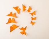 3D Wall Butterflies: Pumpkin Orange Butterfly Silhouettes for Girls Room, Nursery, and Home Decor
