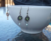 Moroccan Earrings Pink Blue Green Violet Dangling Beaded Stone