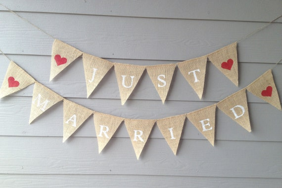 Just Married Burlap Banner - Wedding Banner