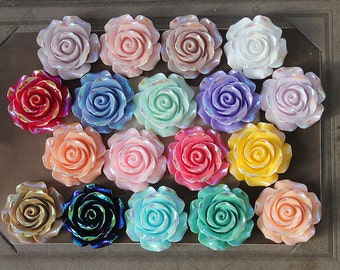 18pcs Big Unique and Special Crafts Beautiful  Mix Colorful  Flower Resin Cabochon 18colors-30mm -(CAB-DHD-MIXSS)