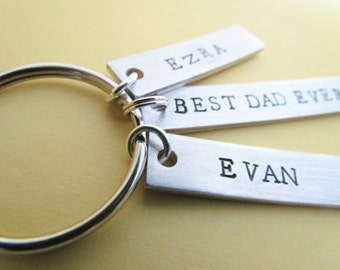 Key Chain Best Dad Ever Plus 2 Name Tags Hand Stamped Aluminum Metal BirthdayGift Dads Key Ring Kids Name Fathers Day