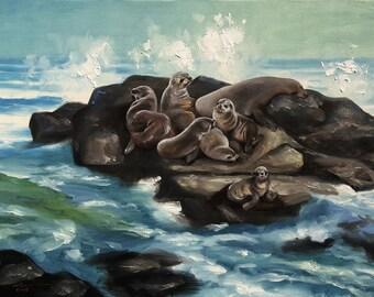 Seals, wildlife animal, beach, original 24x36 oils on canvas painting by RUSTY RUST / S-97