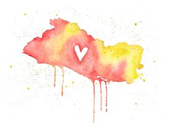 5x7 or 8.5x11 - El Salvador Love