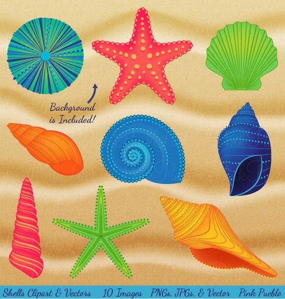 Shells Clipart Clip Art Beach Ocean Travel Vacation Vectors
