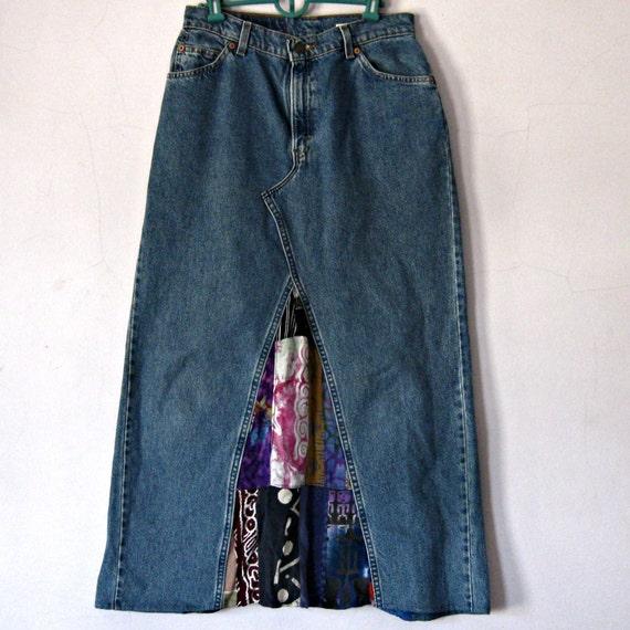 Denim Maxi skirt Levi Jeans Skirt batik Lady's size 10