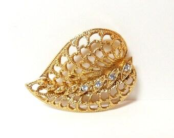 Leaf Brooch- Gold Filigree Brooch- 1960s Brooch- Rhinestones Brooch- Mid Century Brooch-  Costume Jewelry- Vintage Jewelry