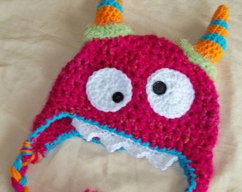 Pink Monster Hat - Baby Hat - Baby Monster Hat - Halloween Costume - Pink Morticia the Monster Hat  - by JoJosBootique