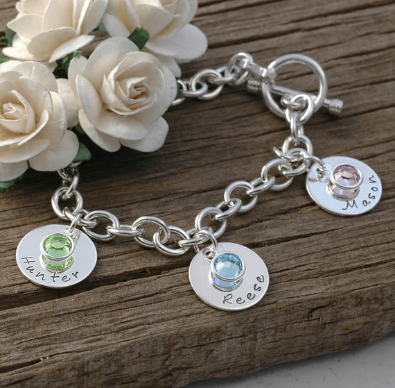 Engraved Charms For Bracelets: Three Disc Personalized Name Charm Bracelet With Birthstones