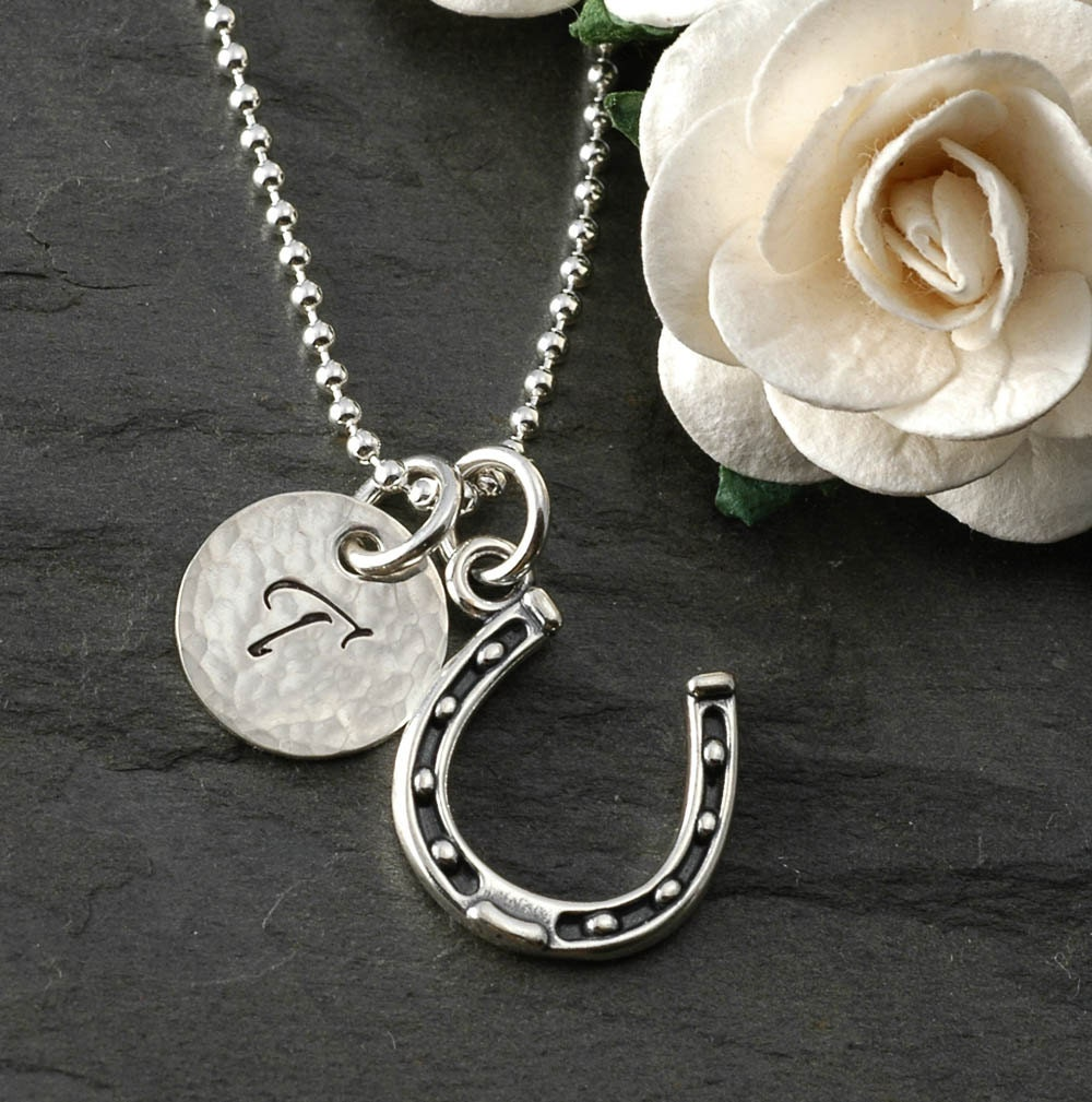 horseshoe necklace with initial disc sterling silver. Black Bedroom Furniture Sets. Home Design Ideas