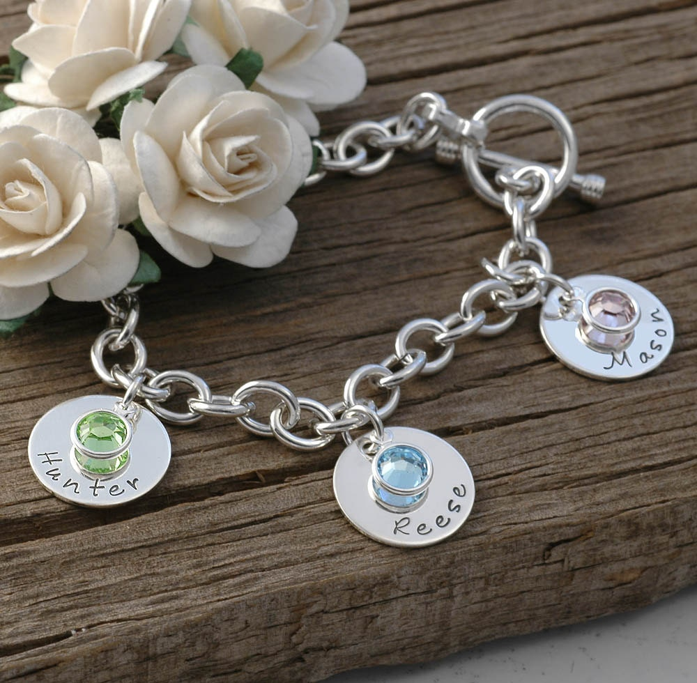 Birthstone Charm Bracelet: Three Disc Personalized Name Charm Bracelet With Birthstones