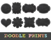Chalkboard Frames Tags Clipart - Digital Clip Art Printable - Clipart Graphics - Personal and Commercial Use