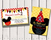 Mickey Mouse Custom Birthday Invitation 2 designs