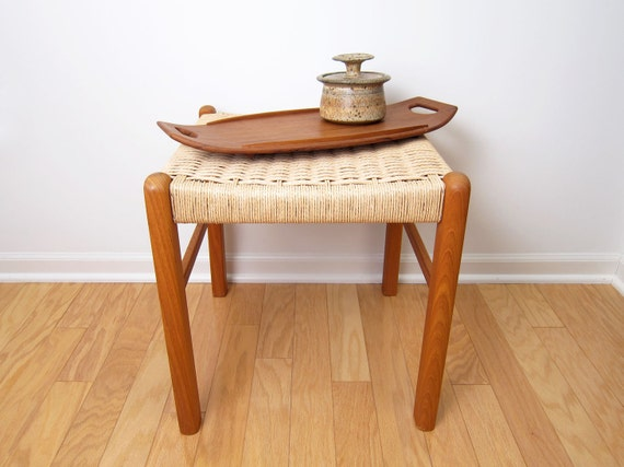 Danish Modern Teak Rope Stool Ottoman Bench Footstool