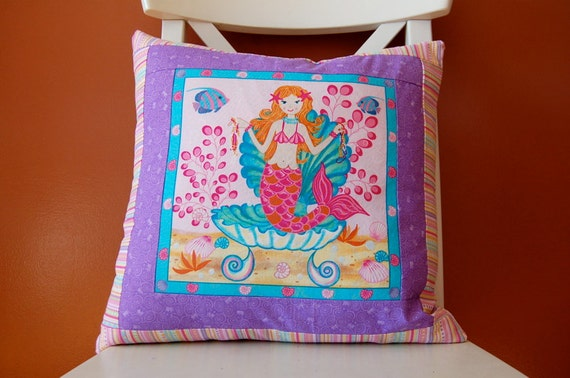 Reserved for Sarina, Set of Two Pillows, Mermaid and Dolphin, Pink and Purple