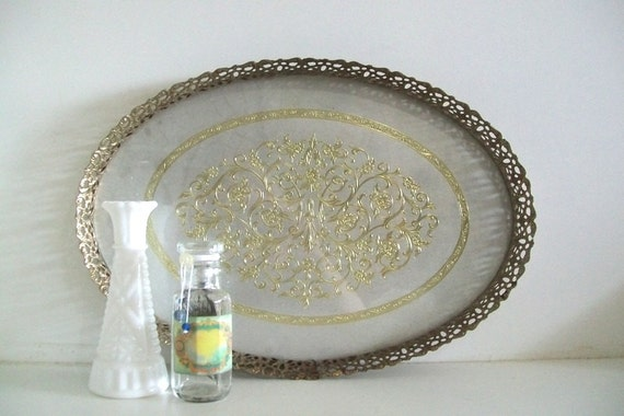 Mid-Century Gold Vanity Tray With Silver Foil Dresser