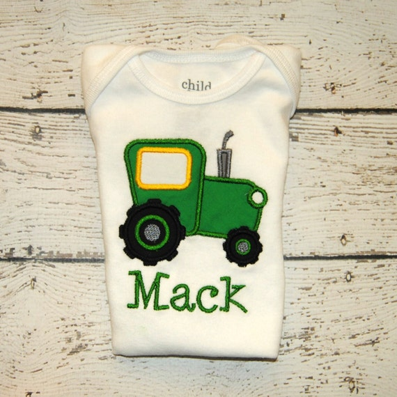 Embroidered Shirt or bodysuit with Green Tractor Personalized with name  I  Tractor Birthday  I  Farm Birthday  I  Barnyard Birthday  I Boys