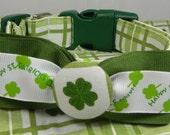 Dog Collar LIMITED Shamrocks St Patricks Plaid w Ribbon Bow Tie Shamrock Bow Happy St Patricks Day Adjustable with D Ring