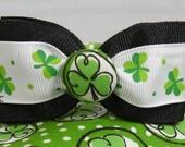 Dog Collar Shamrocks Dots Luck of the Irish for St Patricks Day w Shamrock Ribbon Bow Tie Adjustable D Ring Choose Size