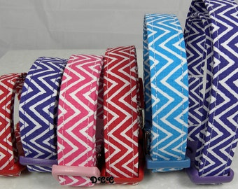 Dog Collar Chevron Stripes Everyday Fun 8 plus choices No Bow Adjustable Dog Collar D Ring Choose Size Stripe Accessory Pet Pets Accessory