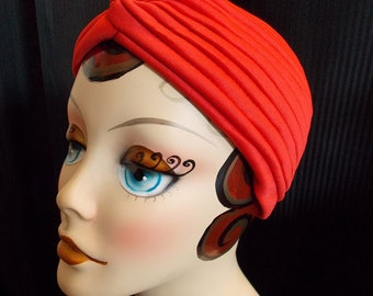 Red, Vintage Style Turban, Retro Sun Bathing Cap