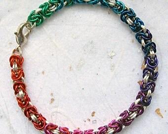 Silver rainbow chainmail bracelet