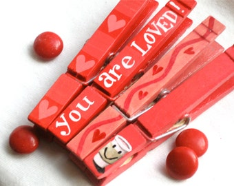 YOU ARE LOVED coffee hand painted magnetic clothespin