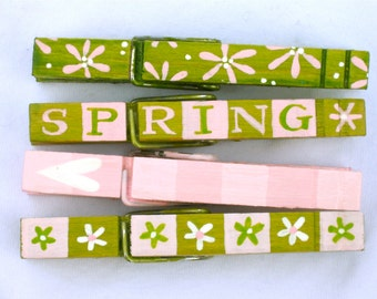 SPRING hand painted clothespin magnets