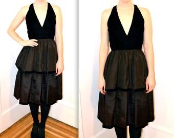 Vintage Black Velvet Dress Size Small Velvet with Plunging Neckline// Small Black Dress in Velvet and Taffeta