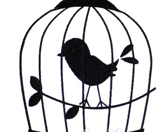 Bird cage silhouette design - machine embroidery design- Many formats - INSTANT DOWNLOAD