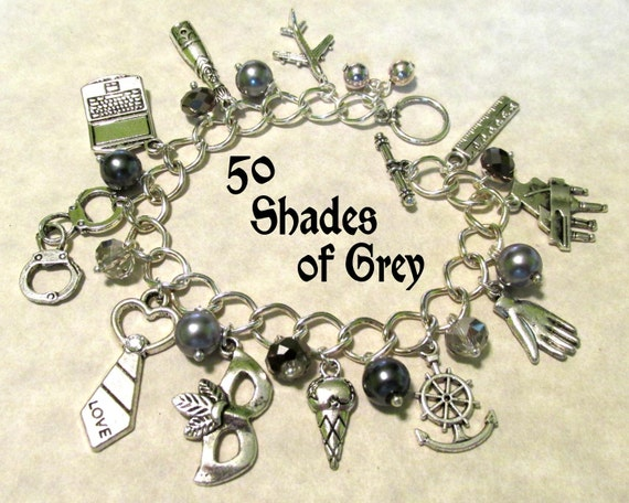 Fifty Shades of Grey Charm Braclet - limited addition - inspired by 50 shades of grey trilogy - 22 charms Handcrafted