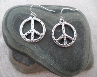 Silver Peace Earrings - Peace Jewelry - Simple Everyday Silver Earrings