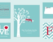 "Family Tree Poster, Love is All You Need, state silhouette and chevron initial - birthdate print) - one 16""x20"" poster and four 8""x10""s"
