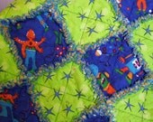Baby Rag Quilt - Space Travelers - Bright Colors