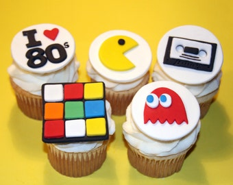 Fondant cupcake toppers 80s party Pacman Rubix Cube